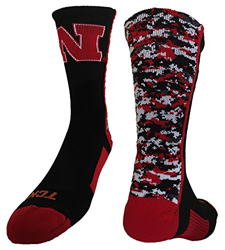 TCK Sports Nebraska Cornhuskers Digital Camo Crew Socks (Black/Scarlet/White, Large) ()