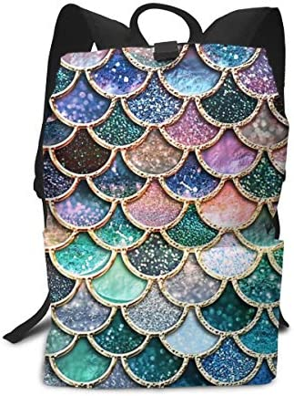 aiyouwuqu-Teal, Silver and Pink Sparkle Faux Glitter Mermaid Scales Lightweight Backpacks Casual School Bags Daypacks Laptop Backpack Adult Backpack Men and Women