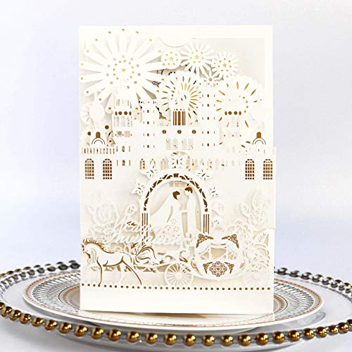 Tennove 25PCS Invitation Cards 3D Laser Cut Handmade Hollow Stamping Carriage Castle Wedding Party Invitations Cards Greeting Card (White)