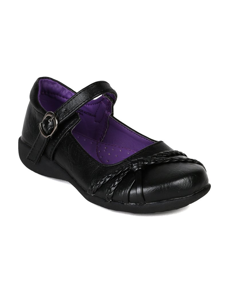 Leatherette Hemp Decor Mary Jane Buckle Strap School Uniform Shoes (Toddler/Little Girl/Big Girl) AI91 - Black (Size: Little Kid 1)