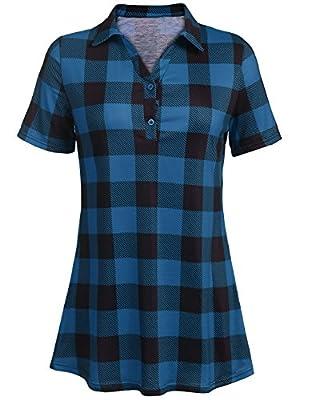 JQstar Women's Short Sleeve V Neck Casual Loose Plaid Tunic Shirt Top