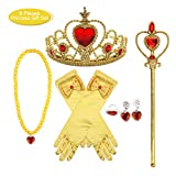 fedio 8Pcs Girls Princess Dress up Accessories Set with Princess Gloves, Princess Tiara Crown, Wand and Necklaces for Kids (Yellow)
