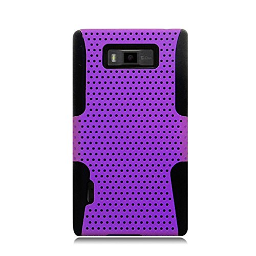 Eagle Cell PHLGUS730NTBKPL Progressive Hybrid Protective Gummy TPU Mesh Defense Case for LG Splendor/Venice US730 - Retail Packaging - Black/Purple