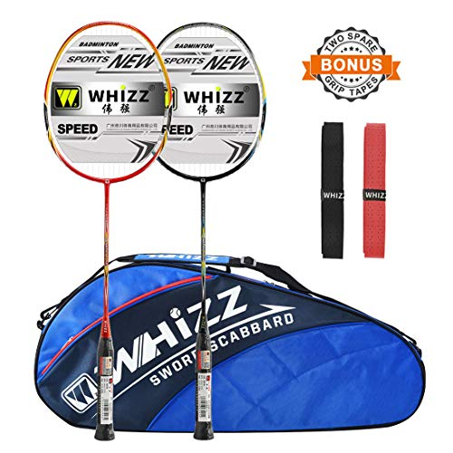 Whizz 2 PCS Full Graphite Frame and Shaft Badminton Racket Set, Badminton Bag / 2 Grip Tapes Included (Black+Blue)