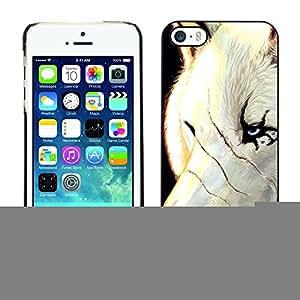 TopCaseStore / la caja del caucho duro de la cubierta de protección de la piel - White Wolf Scars Face Scarface Blue Eyes - Apple iPhone 5 / 5S