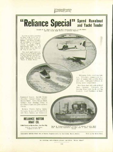 Reliance Special Speed Runabout & Yacht Tender ad 1911