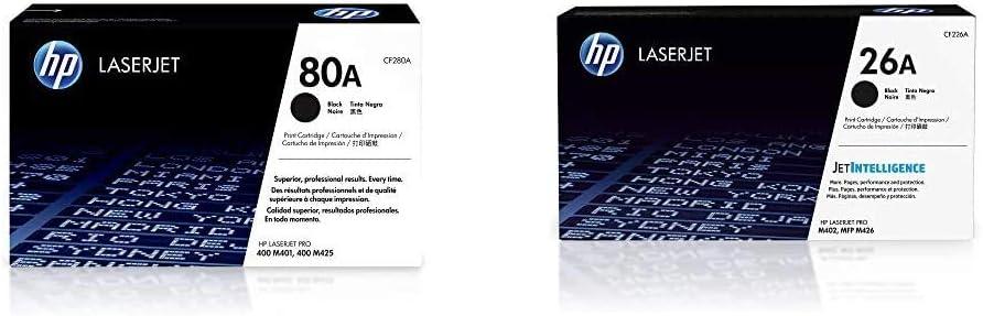 HP 80A   CF280A   Toner Cartridge   Black & 26A   CF226A   Toner Cartridge   Black