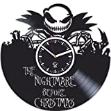 Vinyl Wall Clock, Gift For Kids, Handmade Clock, Best Gift for Kids, Nightmare Before Christmas, Vinyl Record, Kovides, Nursery Decor, Silent, Jack Song, Wall Sticker, Modern Wall Art