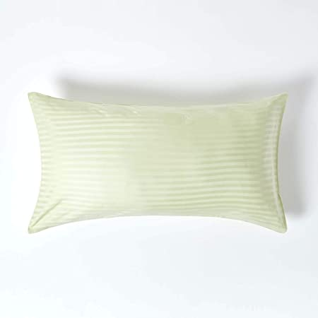 Homescapes Funda de almohada Confort con rayas de satén estilo-Housewife-50 x 90 cm de color Verde Claro en 100% algodon egipcio densidad de 130 hilos/cm²: Amazon.es: Hogar