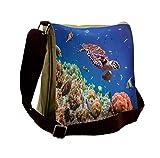 Lunarable Ocean Messenger Bag, Old Tropical Sea Turtle Swims, Unisex Cross-body