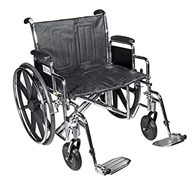 Drive Medical Sentra EC Heavy Duty Wheelchair with Various Arm Styles and Front Rigging Options, Black, Bariatric