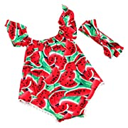 Slowera Baby Girls Fruits Watermelon Ruffle Sleeve Bodysuits and Headband Sets (6-9 Months)