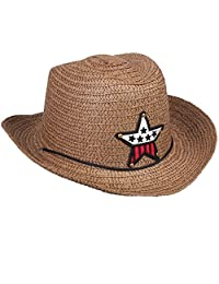 Chinatera Kids Children Cute Straw Braid Cowboy Hat Boy Girl Cap Star Casual Sun Hat