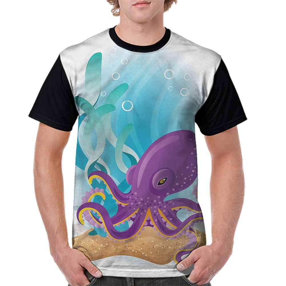 Casual Short Sleeve Graphic Tee Shirts,Octopus Under The Ocean Aqua Fashion Personality Customization