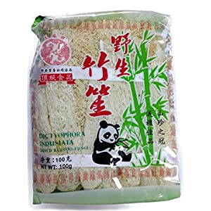 Excellent Hot Pot Ingredient Selected Natural Long Net Stinkhorn Dictyophora Indusiata Dried Bamboo Fungi Net Weight 100g/3.53oz per Pack 竹笙 Free Worldwide Airmail
