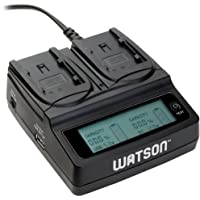 Watson Duo LCD Charger for BP-800 Series Batteries - Canon BP-808, BP-809, BP-819, BP-820, BP-827, and BP-828 type
