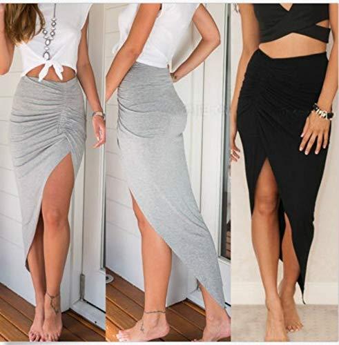 (Fashion Women Wrap Banded Draped Cut Out Low Asymmetrical High Waist Slit Maxi Skirt(S,Black))