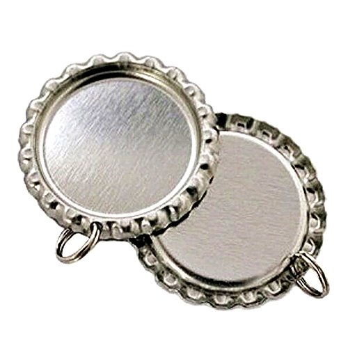 IGOGO Flat Bottle Cap with Holes - 8 mm Split Rings Attached,Silver,50 PCS