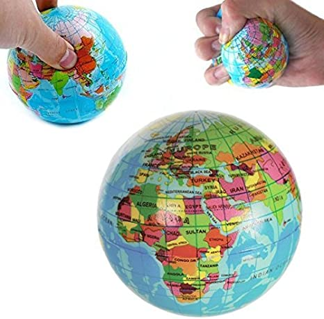 2 WORLD GLOBE MAP BOUNCE BALLS novelty squeeze novelty toy bouncing play ball