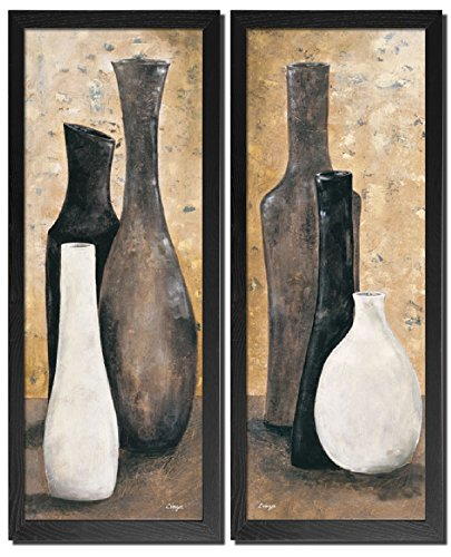 Anthracite | Lovely Brown White and Black Vase Framed Set; Two Black Framed 8X20 Prints