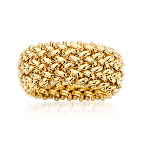 Ross-Simons Italian 14kt Yellow Gold Beaded Mesh Ring ()