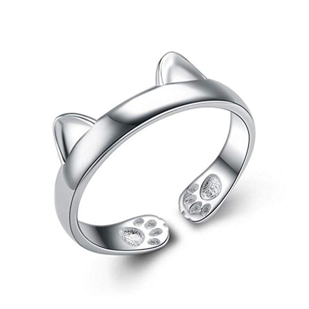 S&E Women's 925 Sterling Silver Rings Simple Cute Cat Design Opening Finger Ring (Dragon Cat)