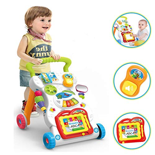 LtrottedJ Baby Kids Cartoon Walker Stroller Multifunctional Baby Toddler Musical Toy -