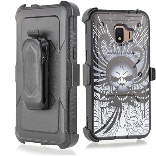 Armor Mag Case (Compatible for Galaxy J2 core Case,Galaxy J2 Dash/J2 Pure/J260 case, w/Built-in [Screen Protector] Heavy Duty Full-Body Armor Case [Belt Clip Holster][Kickstand] (Skull))