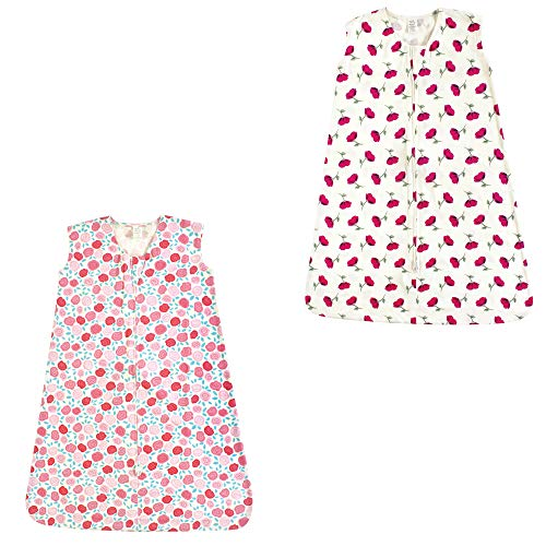 Touched by Nature Baby Organic Cotton Wearable Safe Printed Sleeping Bag, Rosebud and Petals 2 Pack, 18-24 Months ()