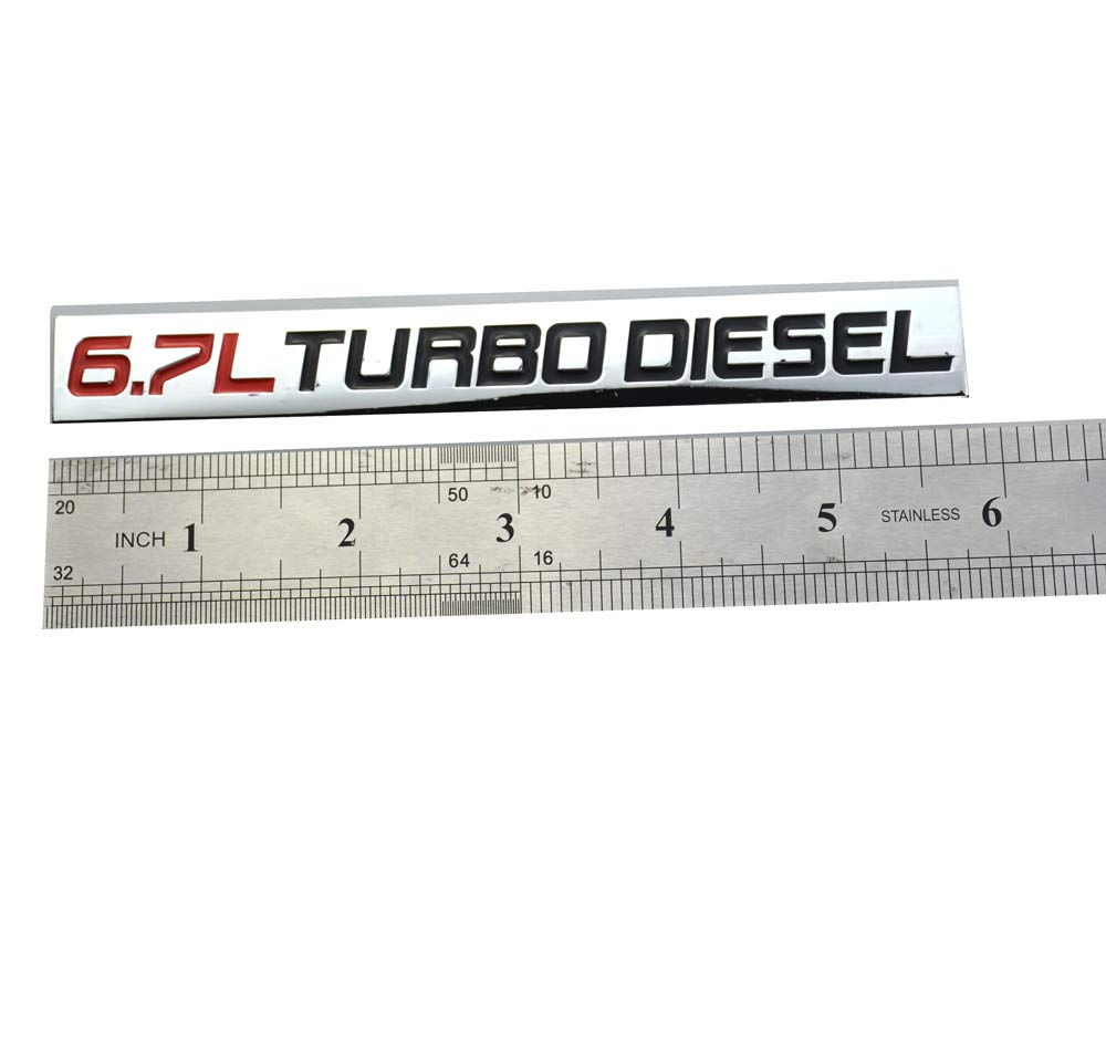 Chrome Finish Metal Emblem 6.7L Turbo Diesel Badge Red /& Black Red /& Black Letter