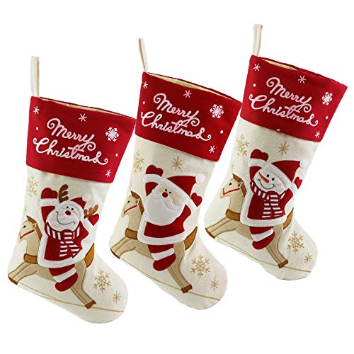 WEWILL Lovely Christmas Stockings Set of 3 Santa, Reindeer, Snowman Xmas Character 3D Plush Hanging Tag Knit Border 17-Inch (2) ()