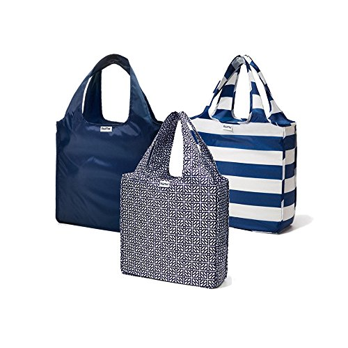 RuMe Bags Medium shopping Tote Bags Trio (Set of 3) (Navy, Baker, Taylor)
