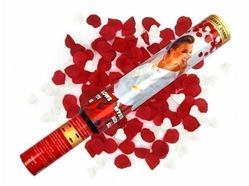 Konfetti-Kanone Herzen weiß Rosenblätter rot, 30 cm