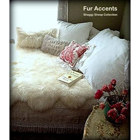 Fur Accents Faux Fur Bedspread Coverlet Blanket Scalloped Shaggy Sheepskin 60 X80