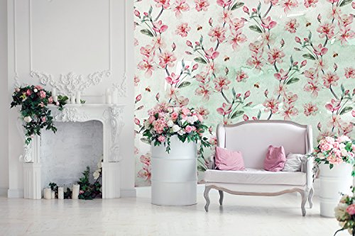 Large Wall Mural Blooming Pink Cherry Flowers on Abstract Background Vinyl Wallpaper Removable Wall Decor