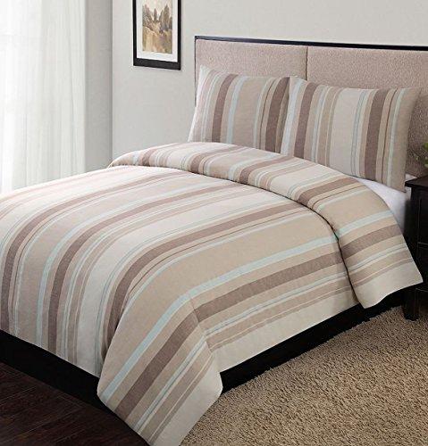 Home Classics Logan Stripe 3 Pc Duvet Set King Bed Comforter ()