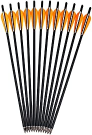 Kikzok 12 Pack Crossbow Bolts Carbon Arrows,16/18/20/22 Inch Hunting Archery Bio Crossbow Arrows with Moon Noc