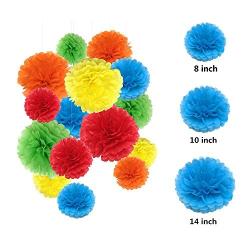 PARLAIM 8118 Tissue Paper Pom Poms - 15 Pieces of 8, 10, 14 Inch - Paper Flowers - Perfect for Wedding Decor - Birthday Celebration - Wedding Party and Outdoor Decoration]()