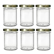 Nakpunar 6 pcs, 7.5 oz Flat Mason Glass Jars with Gold Lid for Jam, Honey, Wedding Favors, Shower Favors, Baby Foods, Canning, spices, Half Pint