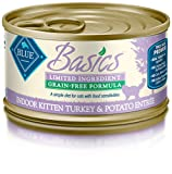 Blue Basics Limited Ingredient Diet Kitten Indoor Grain Free Turkey & Potato Wet Cat Food 3-Oz (Pack Of 24) For Sale