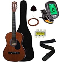 """Crescent MG38-CF 38"""" Acoustic Guitar Starter Package, COFFEE (Includes CrescentTM Digital E-Tuner)"""