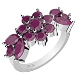 3.00ctw,Genuine Ruby & Solid .925 Sterling Silver Multi Stone Ring (Size-7.5)