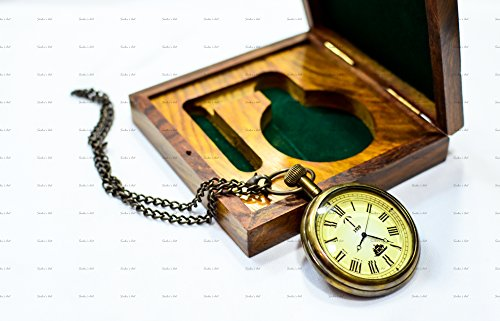 Hamilton White Pocket Watch - Sailor's Art Antique Brass Ship Pocket Watch With Wooden Box Unique Gift 2