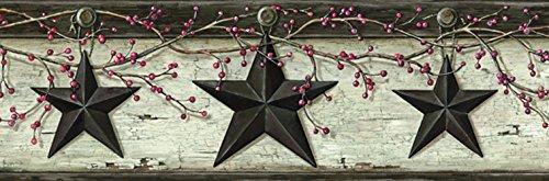 - Chesapeake PUR44601B Ennis Grey Rustic Barn Star Wallpaper Border
