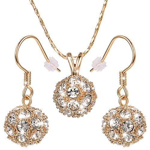 Yoursfs Disco Ball Jewelry Set for Women Shamballa Style 18K GP Pendant Necklace & Hook Earrings Cocktail Set