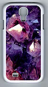DIY Case Cover for Samsung Galaxy S4 I9500 White Hard Skin Shell for Samsung Galaxy S4 I9500 with Purple & Pink Jewel