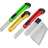 Fixson Utility Knife Box Cutter (3 PACK) Retractable Razor Blades Knifes with Snap Off Blades and Slide Locks, Great Packaging Tools & Hobby Knife (10 REPLACEMENT BLADES INCLUDED)