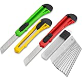 Fixson Utility Knife Box Cutter (3 PACK) Retractable Razor Blades...