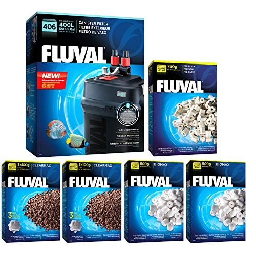 Aquarium Media Filter Phosphate (Fluval 406 A217 Filter w/Biomax, Phosphate Remover & Pre-Filter 12mo)