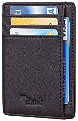 "SLIM WALLET: Sizing 3.15"" x 4.6"" x 0.25"", you can hardly feel it in your pocket;  RFID BLOCKING: military grade RFID blocking technology is used to ensure the safety of your personal information in your cards;  SMART DESIGN: 6 Credit Card Slots, 1 Po..."